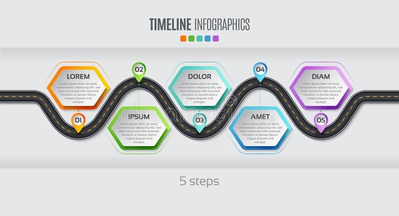 Nawigaci mapy 5 kroków linii czasu infographic pojęcie Wektorowy illu ilustracji