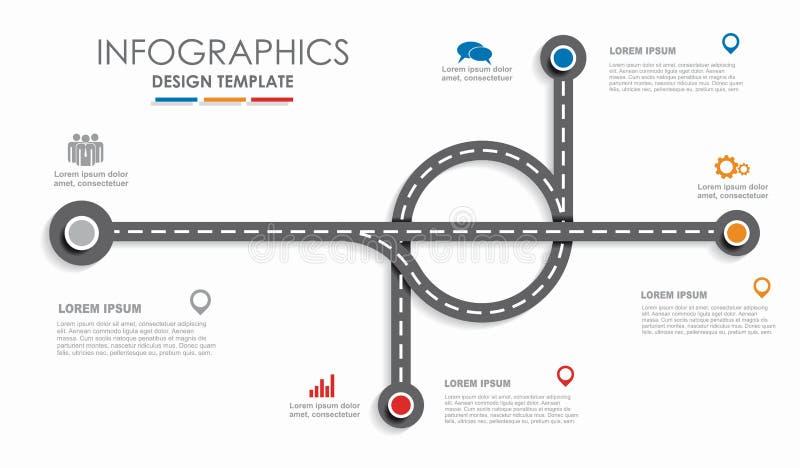 Nawigaci mapy samochodowej linii czasu infographic pojęcie z miejscem dla twój dane również zwrócić corel ilustracji wektora royalty ilustracja