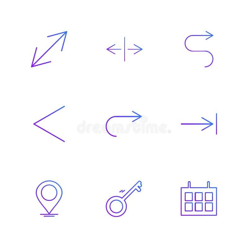 nawigacja, kalendarz, strzała, kierunki, avatar, ściąganie ilustracja wektor