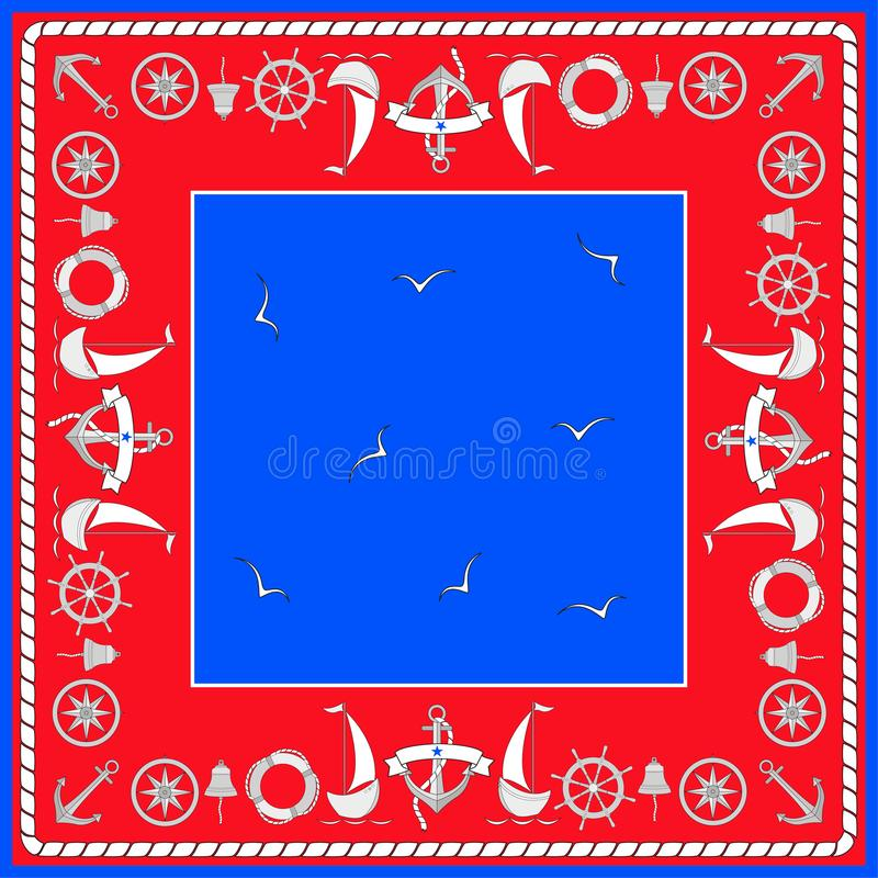 Nawigacja symbole, żaglówki, seagulls Kwadratowy skład z granicą Barwi odosobnionego wektor w nautycznym stylu w formie ilustracja wektor