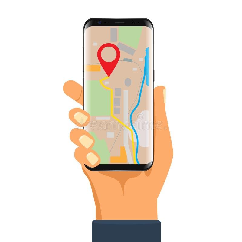 Nawigatora zastosowanie na smartphone egzaminie próbnym up ilustracji