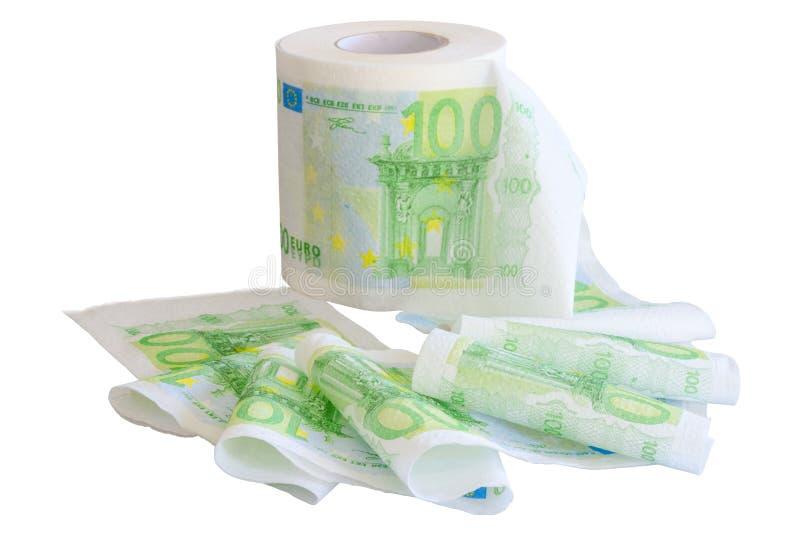 Nawijający daleko papier toaletowy z 100 banknotów Euro wizerunkiem fotografia royalty free