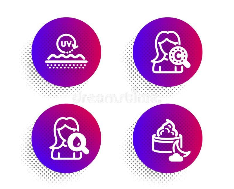 Nawilżanie śmietanka, Ultrafioletowa ochrona i kolagen skóra ikony ustawiać, Nocy śmietanki znak Twarzy płukanka, skóry opieka we ilustracja wektor