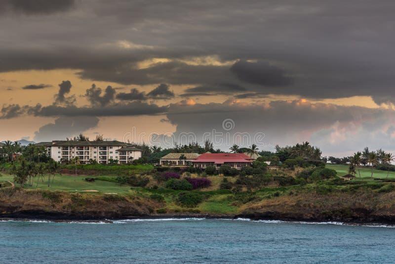 Timbers Kauai Ocean Golf Club and residences, Nawiliwili, Kauai, Hawaii, USA. Nawiliwili, Kauai, Hawaii, USA. - January 11, 2012: Early morning light on Timbers royalty free stock photography