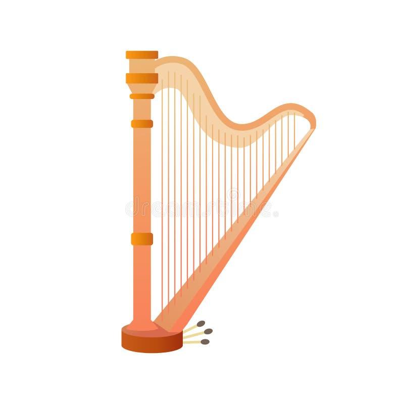 Nawleczeni instrumenty muzyczni, harfa Projekta uk?ad dla prezentacj, ulotek, plakat?w i zaprosze? sztandar?w, wektor royalty ilustracja