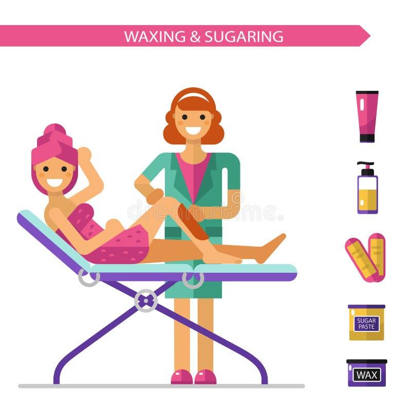 Nawoskować lub słodzenia procedura ilustracja wektor