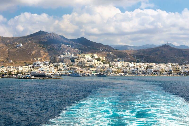 Naxos, Cyclades,希腊全景  库存照片
