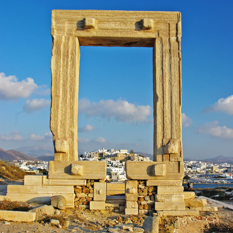 Naxos, ancient temple. Travel in Greek islands series - Naxos and appolo gate stock images