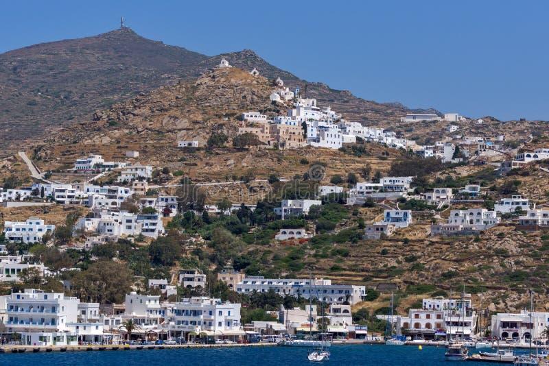 Panoramic view of Naxos Island, Cyclades, Greece. NAXOS, GREECE - MAY 4, 2013: Panoramic view of Naxos Island, Cyclades, Greece royalty free stock photos