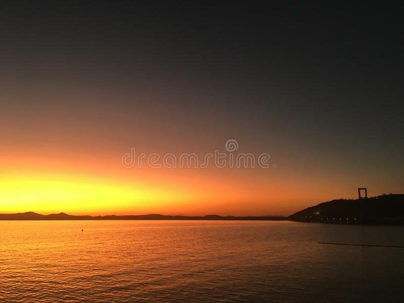 Naxos-Insel Griechenland-Sonnenuntergangabend lizenzfreies stockbild