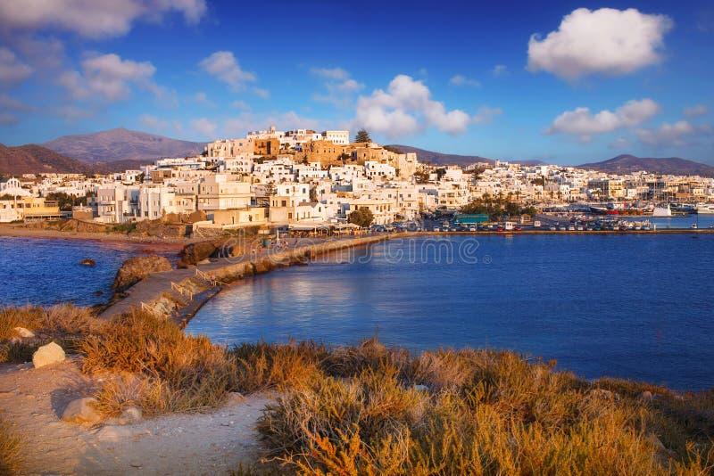 Naxos Town Chora at sunset. Naxos Town Chora, Greece, at sunset stock images