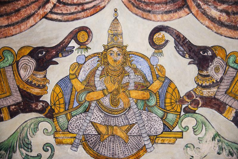 Nayaka painting of Gajalakshmi on the inside wall of the cloister mandappa. Brihadishvara Temple, Thanjavur, Tamil Nadu. India royalty free stock photos