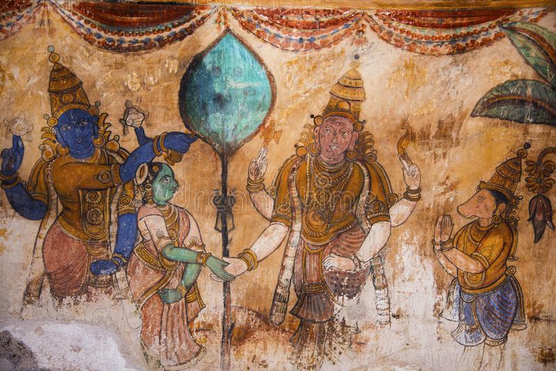 Nayaka painting on the inside wall of the cloister mandappa. Brihadishvara Temple, Thanjavur, Tamil Nadu. India royalty free stock images