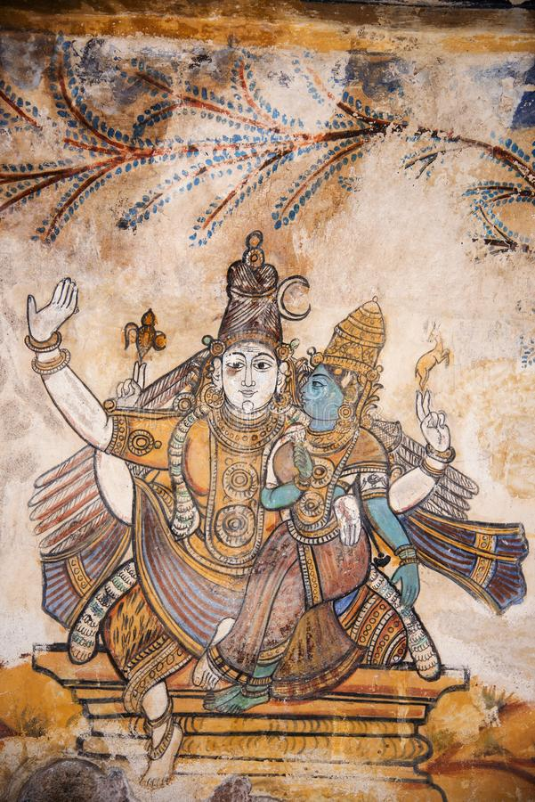 Nayaka painting on the inside wall of the cloister mandappa. Brihadishvara Temple, Thanjavur, Tamil Nadu. India stock image