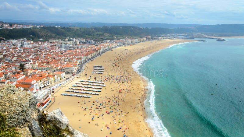 Nazare海滩-葡萄牙 免版税库存照片