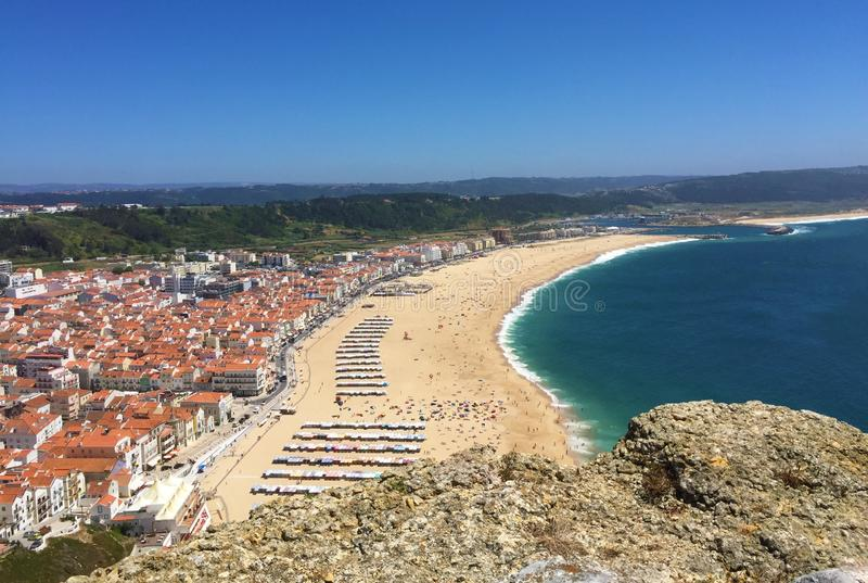 Nazare is a colorful fishing village in central Portugal. stock images