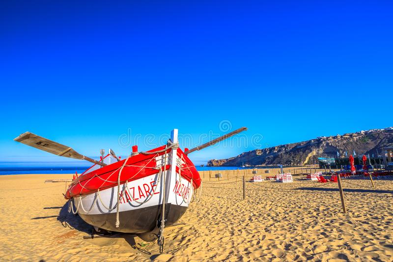 Nazare old fishing boat stock photos