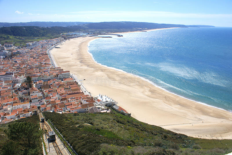 Nazare, Portugal. Panorama of the city of Nazare and its beautiful beach in Portugal, from the Sitio area royalty free stock photos
