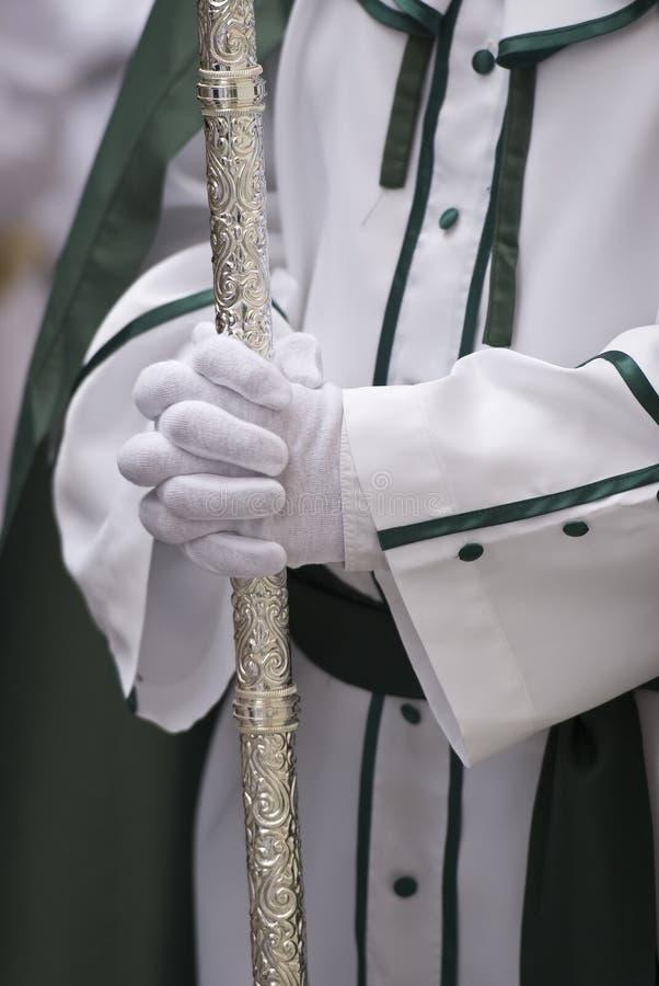Nazarene na veste branca e verde. fotografia de stock royalty free
