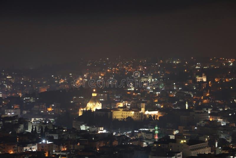 Nazareth, Israël bij nacht stock foto