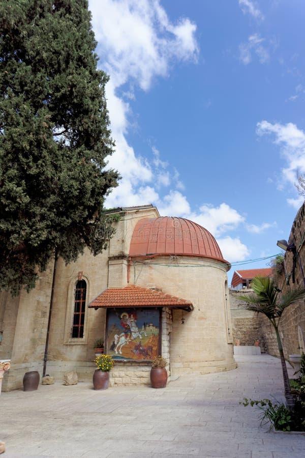 Nazareth, Israel - 17 de fevereiro 2017 Igreja ortodoxa grega do primeiro milagre imagem de stock royalty free