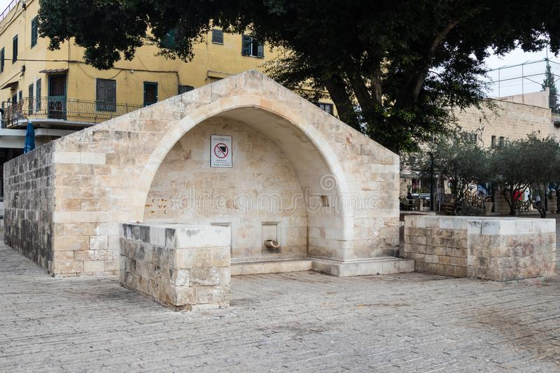 The fountain of the Virgin Mary - Mary`s Well - in the old city of Nazareth in Israel stock image