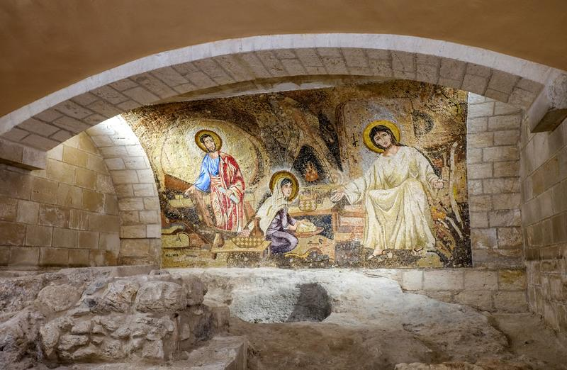 The Holy family mosaic at church of Saint Joseph in Nazareth royalty free stock image