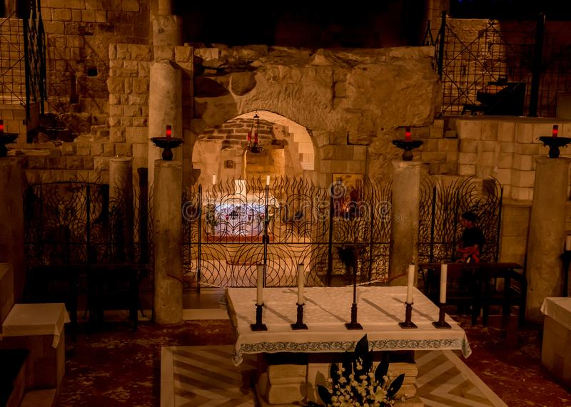 Mary's grotto Basilica of the Annunciation, Nazareth royalty free stock images