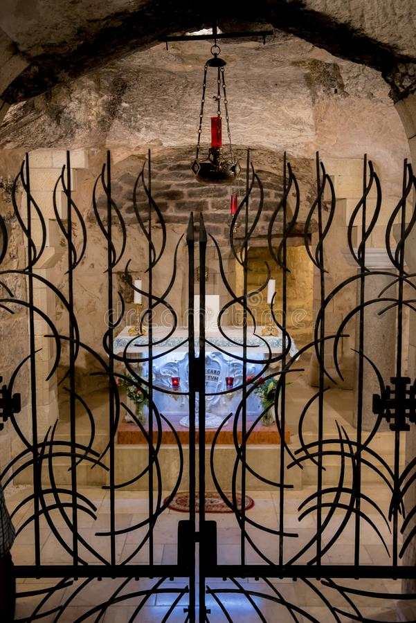 Mary's grotto Basilica of the Annunciation, Nazareth stock image