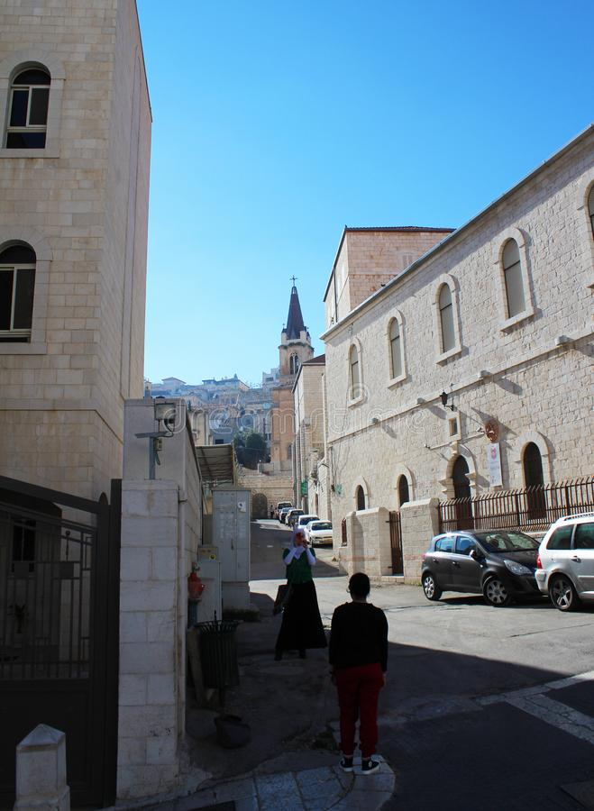 Nazareth old town, view on the street with Sinagogue church royalty free stock images