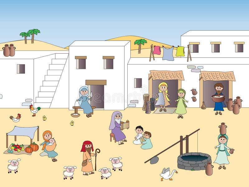 Nazareth på den tiden av jesus vektor illustrationer