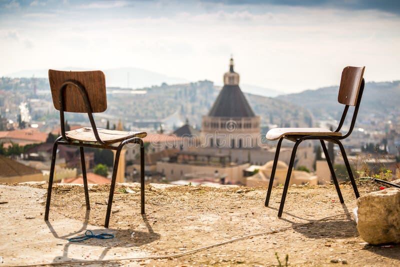 Nazarethpanorama met stoelen, Israël royalty-vrije stock foto