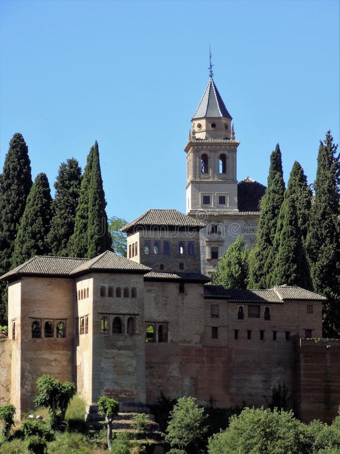 Nazaries palaces-Alhambra-GRANADA-Andalusia-Spain -EUROPE. Nazaries palaces and church tower-Alahambra royalty free stock photography