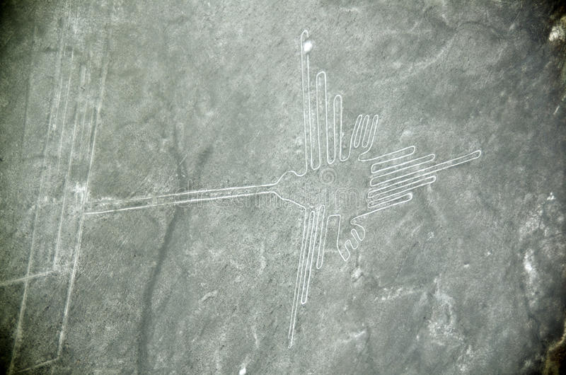 Nazca Lines, the hummingbird, Aerial View, Peru. The Nazca Lines are a series of ancient geoglyphs located in the Nazca Desert in southern Peru royalty free stock photos