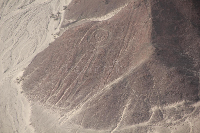 Nazca Lines. The Nazca Lines are a series of ancient geoglyphs located in the Nazca Desert in southern Peru. They were designated as a UNESCO World Heritage Site royalty free stock images