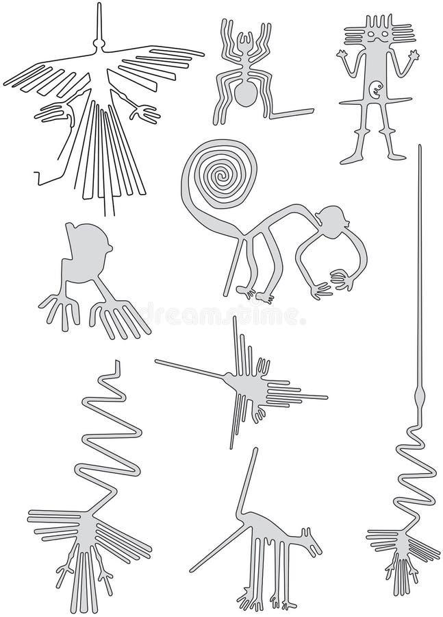 Nazca zeichnet, geoglyphs in der Wüste von Peru stock abbildung