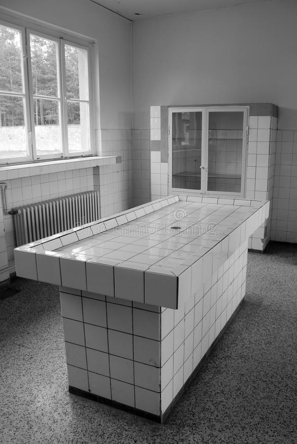 Nazi concentration camp in Germany, Autopsy room. SACHSENHAUSEN-ORANIENBURG, GERMANY MAY 24 10: Nazi concentration camp in Germany, Autopsy room in the Pathology royalty free stock photo