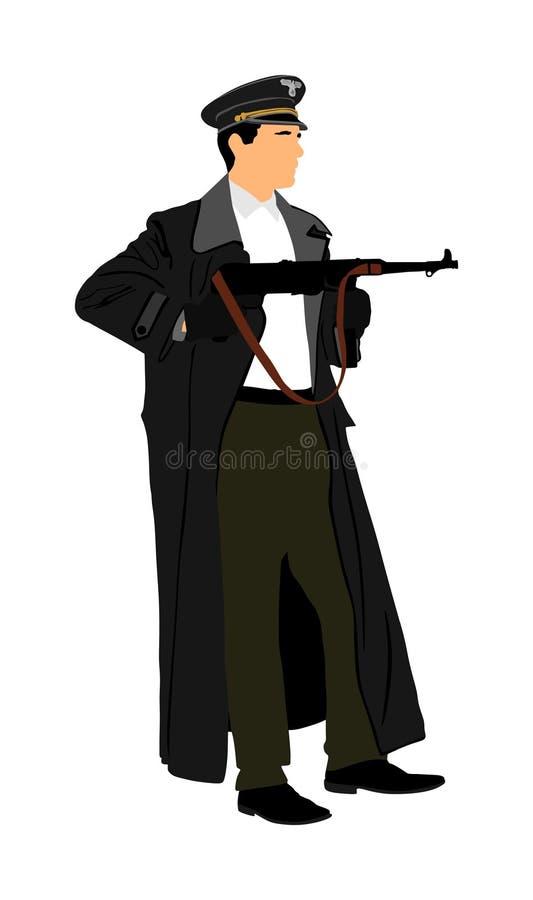 Nazi Germany-Soldat mit Gewehr Soldat des zweiten Weltkriegs in besetztem Europa lizenzfreie abbildung