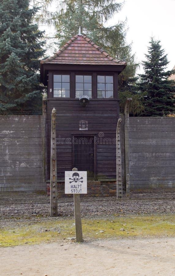 Nazi guard tower house by barracks Auschwitz German Nazi concentration camp Aushwitz-Birkenau Museum Poland royalty free stock images