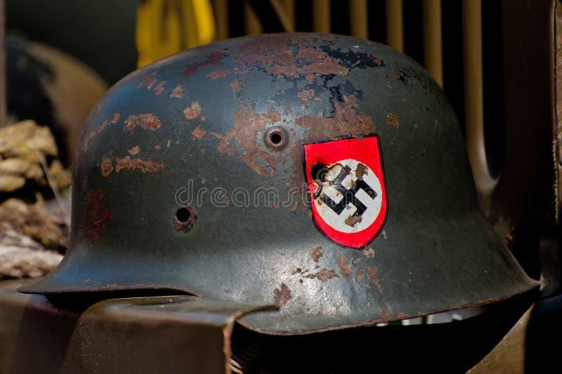 Nazi Helmet on American Jeep royalty free stock image