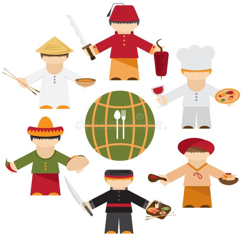 Nazioni del mondo, cuochi unici differenti piani di cucina royalty illustrazione gratis