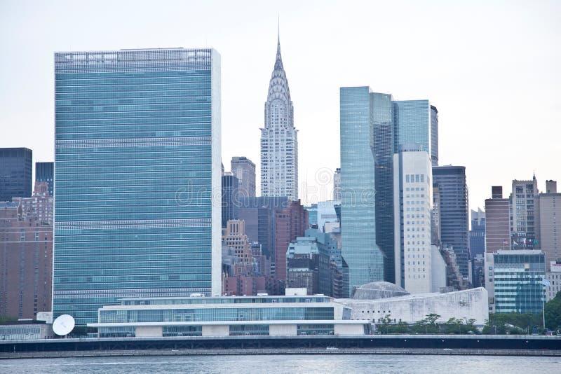 Nazioni unite che costruiscono e costruzione di stati di impero in New York fotografia stock