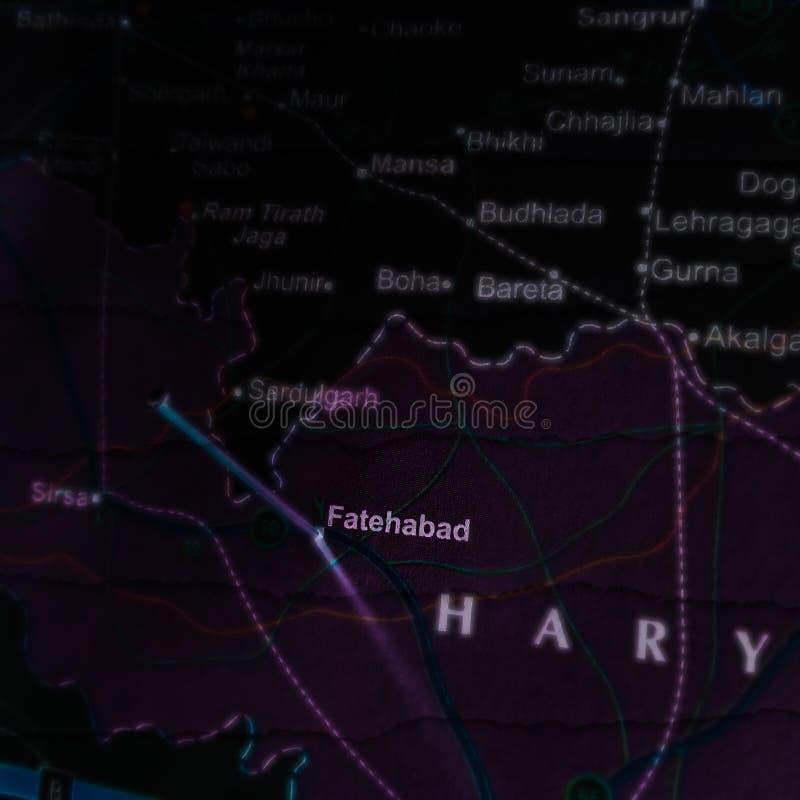 nazwa miasta fatehabad wyświetlana na mapie geograficznej Indii zdjęcie stock