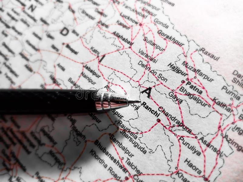 nazwa miasta ranchi wyświetlana na mapie geograficznej Indii madhya Pradesh obrazy royalty free