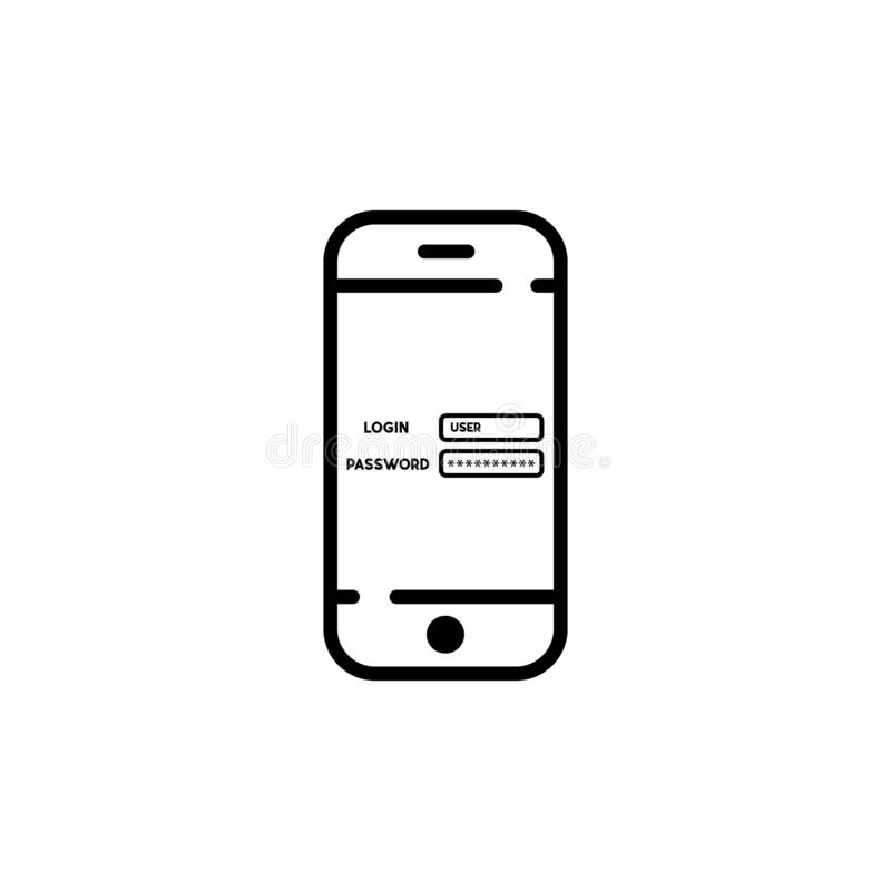 nazwa użytkownika i hasło na parawanowym telefonie pojęcia ochrony środowisk pojedynczy white wektorowy symbol EPS10 royalty ilustracja