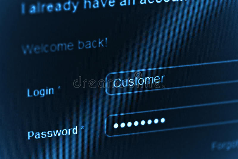 Nazwa użytkownika. Ekran komputerowy błękitny macro zdjęcia royalty free