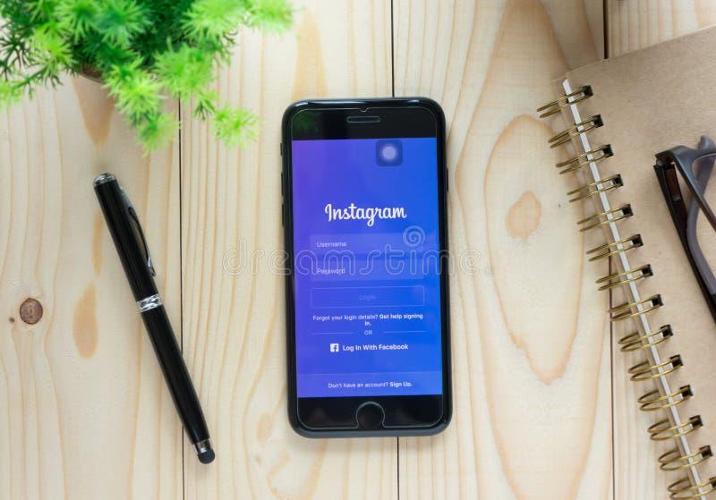 Nazwa użytkownika ekranu Instagram ikony na Apple iPhone7 zdjęcia royalty free