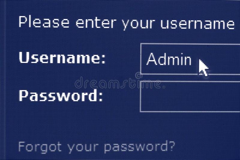nazwa użytkownika hasła ekran obraz stock