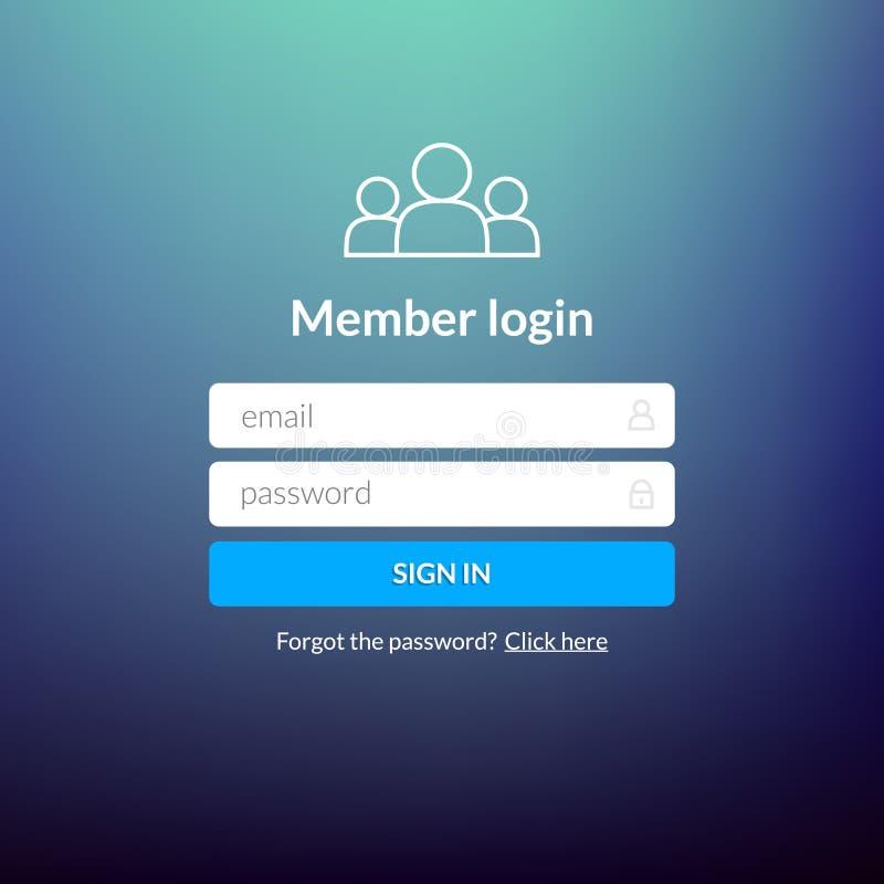 Nazwa użytkownika interfejs użytkownika Podpisuje wewnątrz sieć elementu szablonu okno Biznesowej strony internetowej nowożytny u ilustracji
