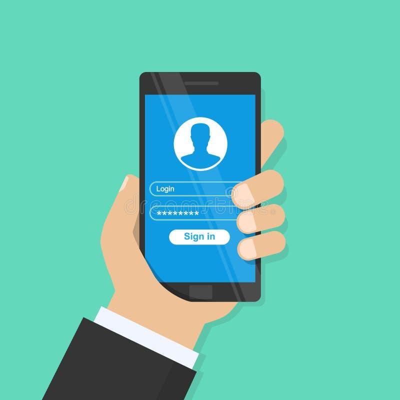 Nazwy użytkownika formy strona Rejestracja, uwierzytelnienie, autoryzacj pojęcia Ręka trzyma smartphone i palca dotyki royalty ilustracja